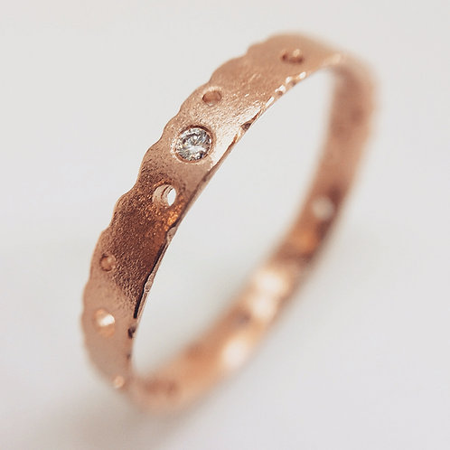 Bespoke, contemporary handmade rose gold and diamond engagement ring. 3mm wide. By Kate Smith Jewellery, UK