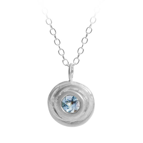 Aquamarine handmade pendant necklace in sterling silver, by contemporary jewellery designer Kate Smith, Birmingham, UK