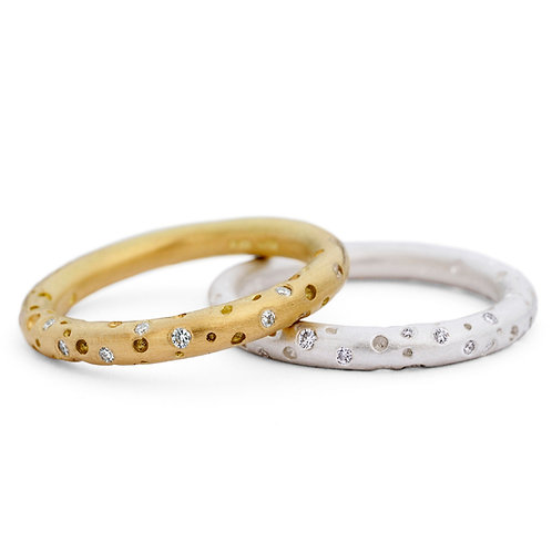 Handmade unique and modern halo diamond eternity rings in gold and silver by Kate Smith Jewellery, Birmingham, UK