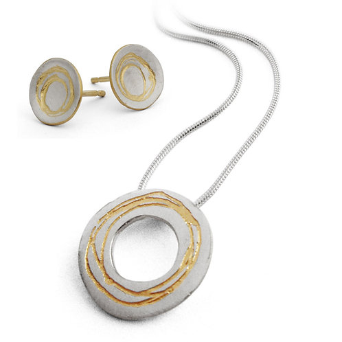 Contemporary handmade silver necklace and earrings gift set by Birmingham jeweller Kate Smith, UK