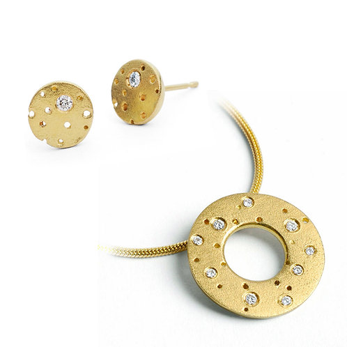 Modern, unusual and contemporary diamond and 18ct yellow gold necklace and earring set , handmade in Birmingham, UK
