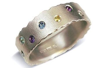 Multi coloured gemstone white gold ring