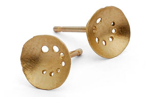 oval 9ct gold earrings with fine drilled detail by Kate Smith Jewellery. Code KS20b