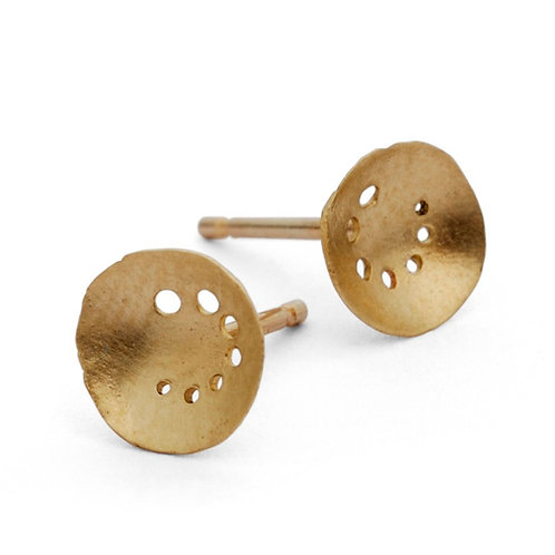 small handmade round gold earrings, created by Kate Smith Jewellery Design, Birmingham, UK
