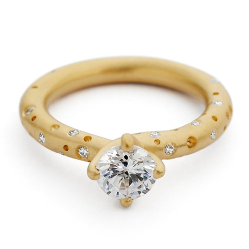 Contemporary handmade unique twist solitaire diamond engagement ring created by Kate Smith Jewellery, Birmingham, UK