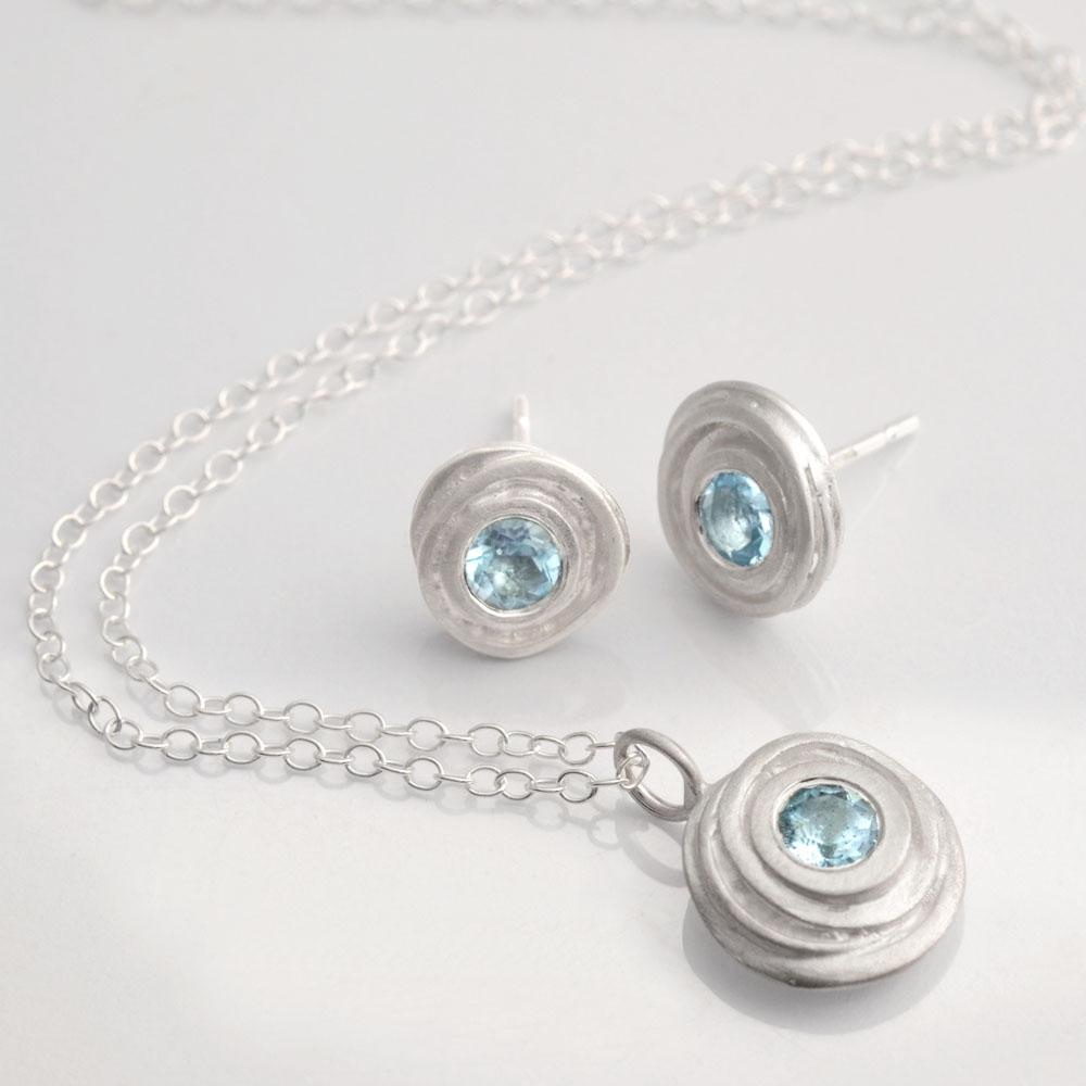 Aquamarine Swirl Pendant & Earring Set - Kate Smith Jewellery - SP0703aq