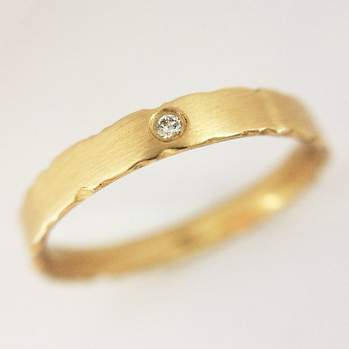 Modern and alternative 9ct yellow gold diamond engagement ring. Handmade by jeweller Kate Smith in Birmingham