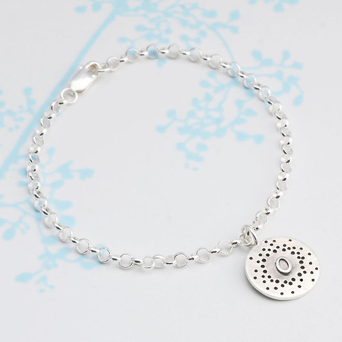 Personalised Bracelet With Patterned Detail Letter O by Kate Smith Jewellery.