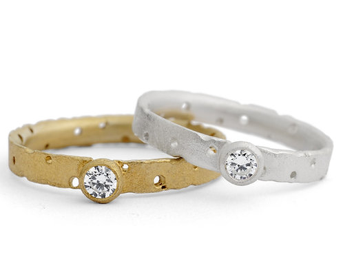Contemporary, organic and modern unique silver and 18ct yellow gold engagement rings by Kate Smith Jewellery, Birmingham, UK