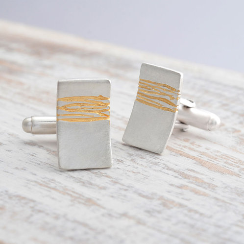 Modern, handmade unusual sterling silver cufflinks, created in Birmingham's Jewellery Quarter by Kate Smith Jewellery. UK