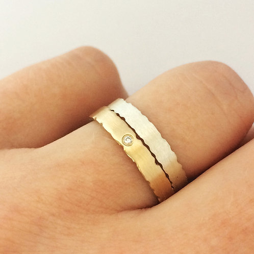 Handmade satin finish ring set in gold and silver with diamond