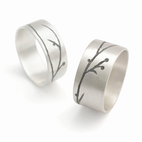 Contemporary, everyday modern organic silver rings by Kate Smith Jewellery. Handmade in The Jewellery Quarter
