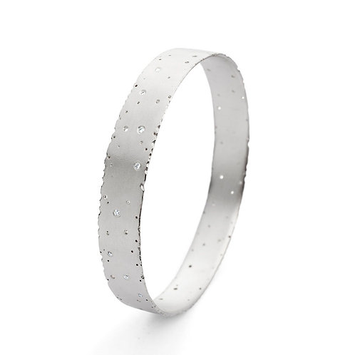 Diamond & Silver Nibbled Bangle by Kate Smith Jewellery.