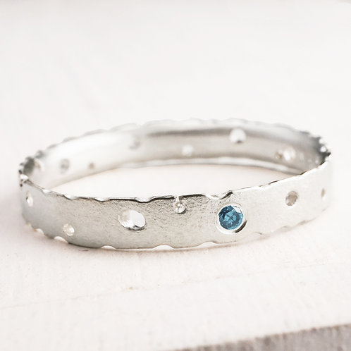 Organic, handmade modern engagement ring with blue diamond in sterling silver. Kate Smith, Birmingham, England