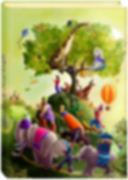 A book cover with an illustration of an oak tree with a giraffe and polar bear a boy flying a kite a tiger a rabbit a fox playing a saxophone a hot air balloon hovering and various characters from a circus