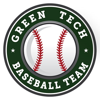Text Reads- Green Tech Baseball Team with image of baseball in center