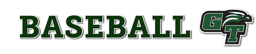 Text reads: baseball in varsity style letters with Green Tech Athletic Logo at the end