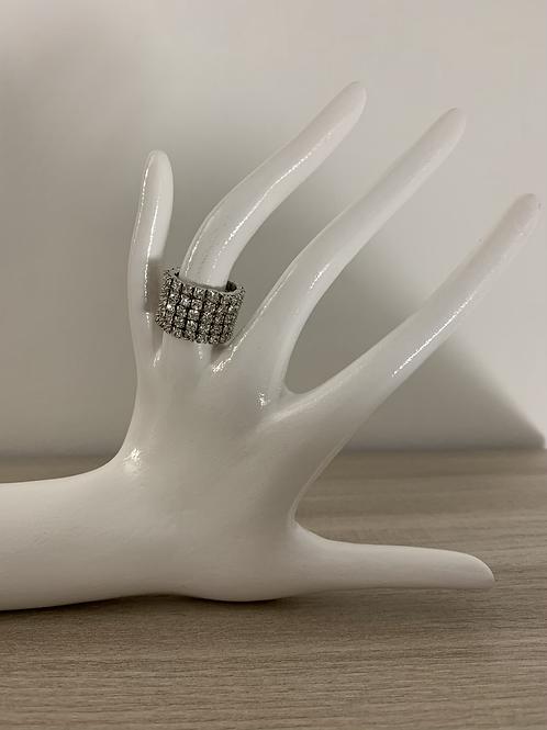 Anello elasticizzato con dettaglio strass
