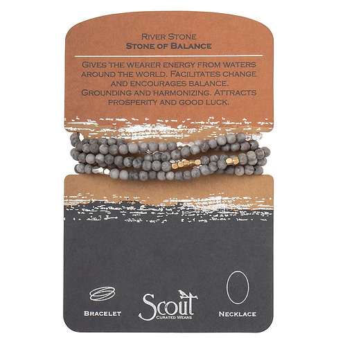 Scout Wrap Bracelet/Necklace - River Stone Stone of Balance