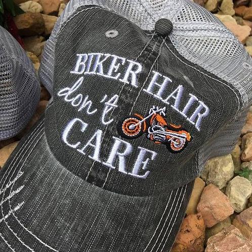 Biker Hair Don't Care Trucker Hat Orange