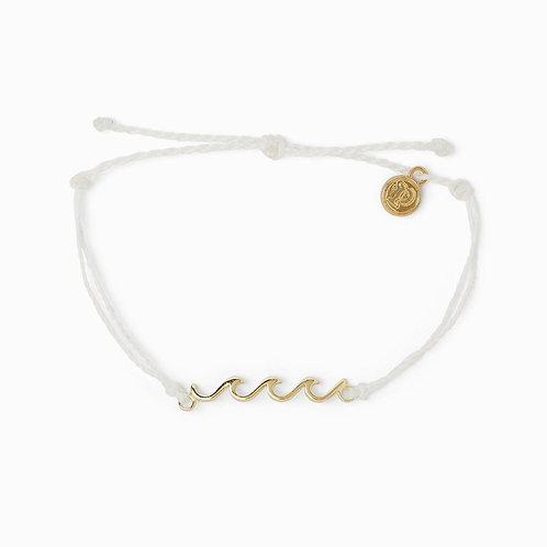 Pura Vida Delicate Gold Wave Bracelet White