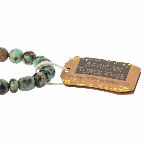 Stone Stacking Bracelet African Turquoise Stone of Transformation
