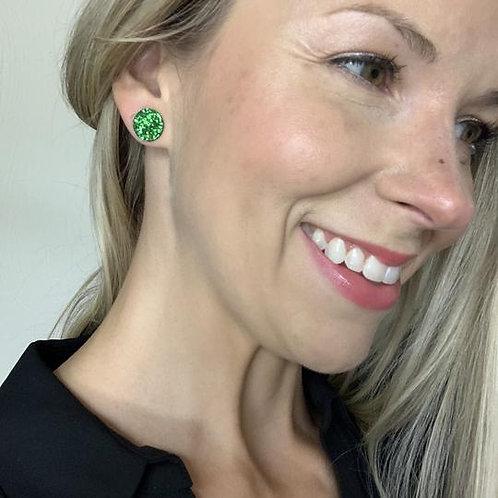 Green Glitter Circle Studs