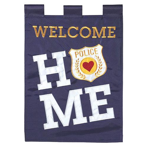 Welcome Home Police Garden Flag