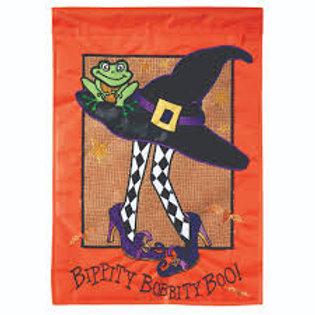 Witch hat applique with burlap garden flag