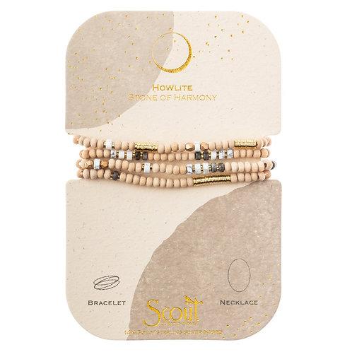 Wrap Bracelet/Necklace Howlite Stone of Harmony