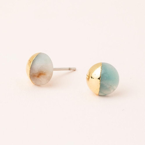 Dipped Stone Stud - Amazonite & Gold