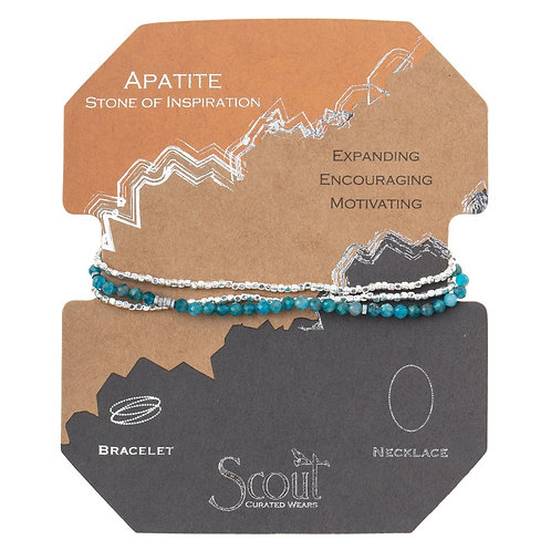 Delicate Apatite Stone of Inspiration Wrap Bracelet/Necklace