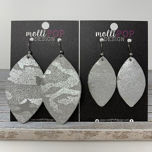Silver Shimmer Camo Leaf Earrings