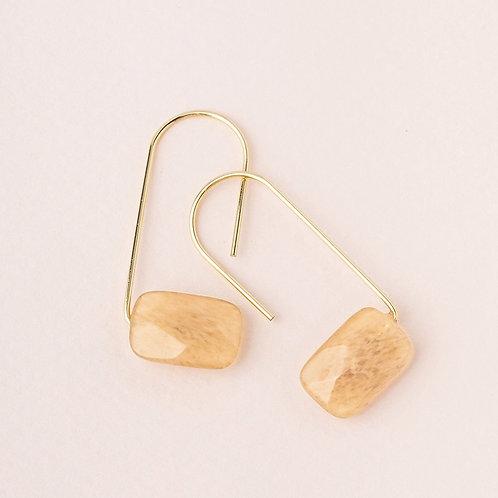 Floating Stone Earring - Citrine & Gold