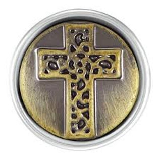 Petite Antique Brass Cross Snap