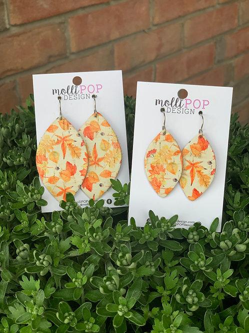 Fall Leaf Cork Earrings