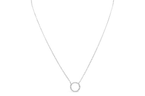 Charm & Chain Pave Circle Necklace