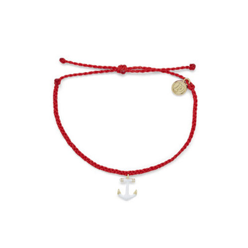 Gold Anchor Ruby Red Bracelet