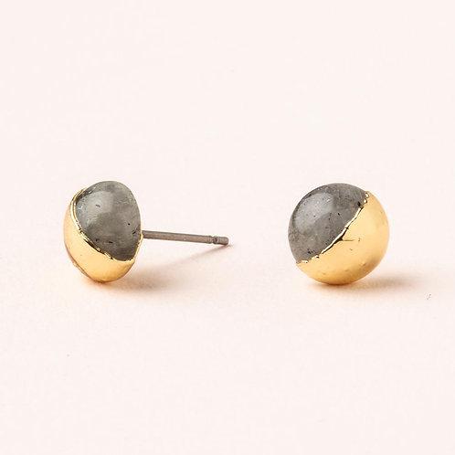 Dipped Stone Stud - Labradorite & Gold