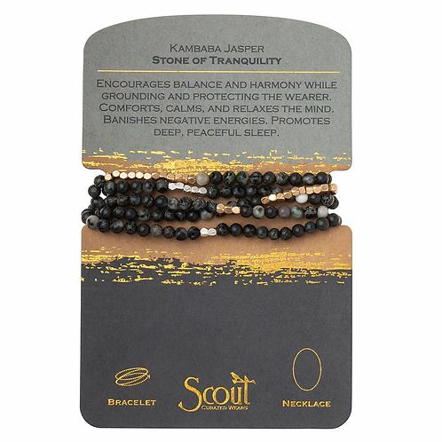 Stone Wrap Bracelet/Necklace - Kambaba Jasper Stone of Tranquility