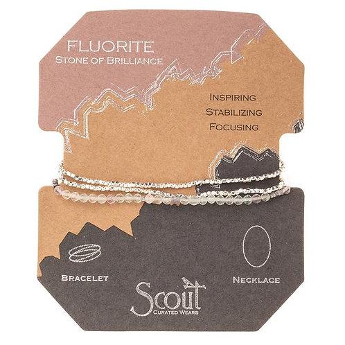 Scout Delicate Wrap Bracelet/Necklace Fluorite Stone of Brilliance