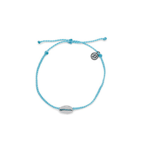 Cowrie Cord Silver Anklet Light Blue