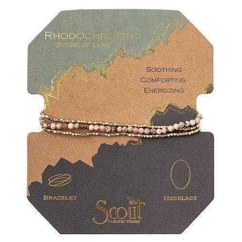 Delicate Rhodochrosite Stone of Love Wrap Bracelet/Necklace