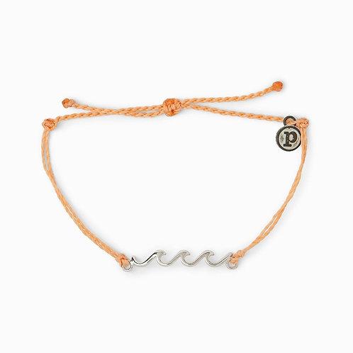 Pura Vida Silver Delicate Wave Bracelet Peach