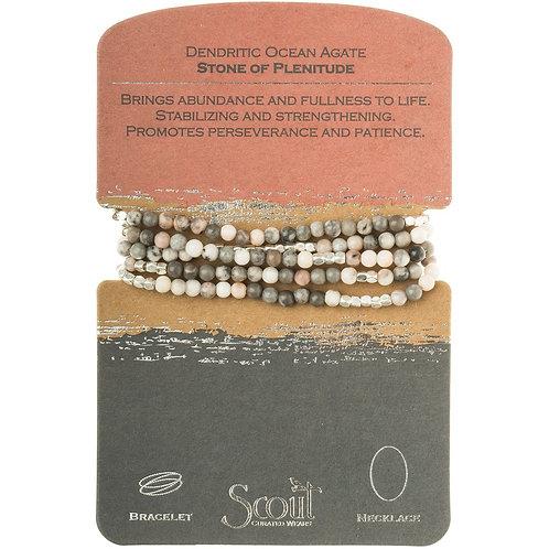 Scout Wrap Bracelet/Necklace Dendritic Ocean Agate Stone of Plentitude