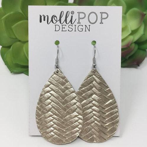 Platinum Braid Metallic Teardrop Earrings
