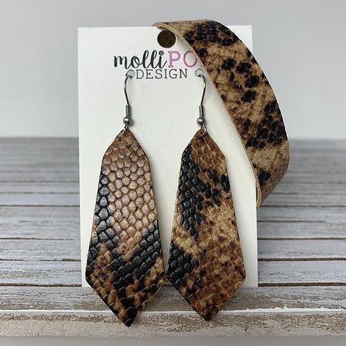 Snakeskin Leather Hexagon Earrings