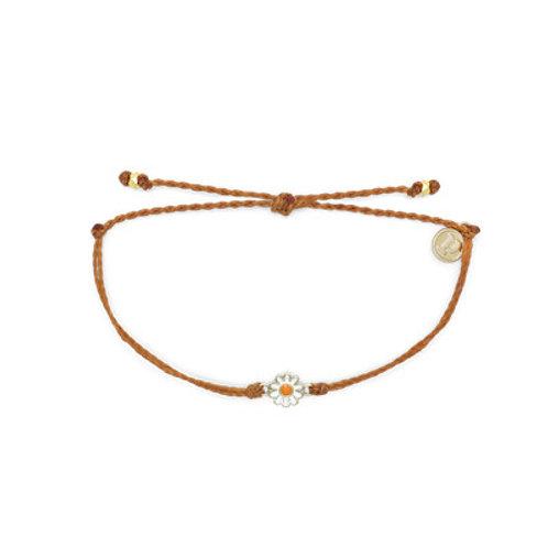 Gold Daisy Bracelet Burnt Orange