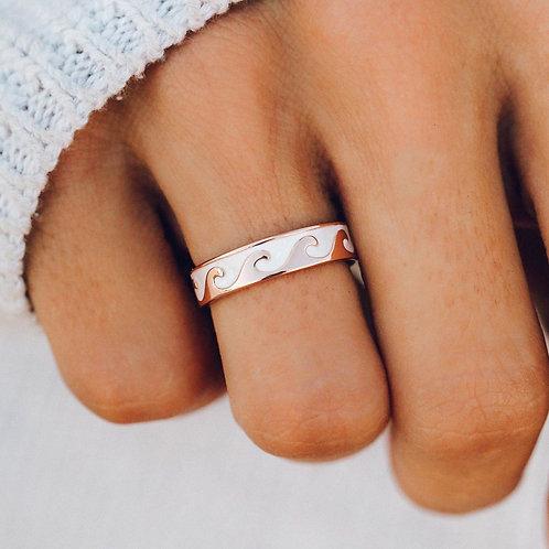 Reversible Wave Ring Rose Gold