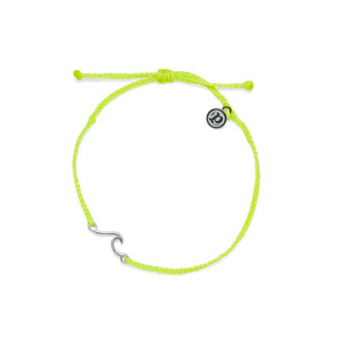 Shoreline Silver Anklet Neon Yellow